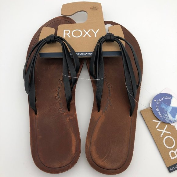 Roxy Leanne Black Leather Sandals 9